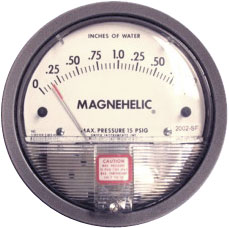 Closeup of a Magnehelic Gauge