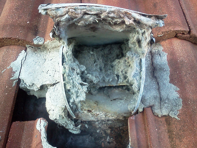 Roof Vent with Small Opening Creates a Lint Blockage Fire Hazard